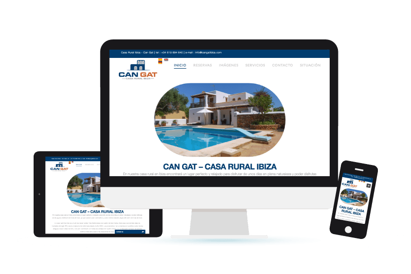 Vista de la web de Can Gat Ibiza en distintos formatos