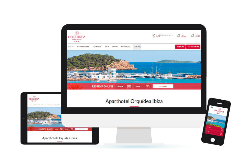 Vista de la web de Aparthotel Orquídea Ibiza en distintos formatos