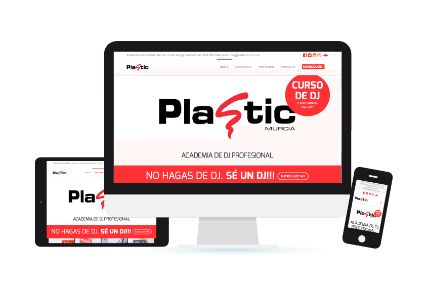 Vista de la web de Plastic Murcia en distintos formatos