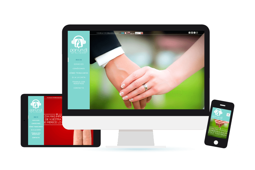 Vista de la web de Pon un dj en tu boda en distintos formatos