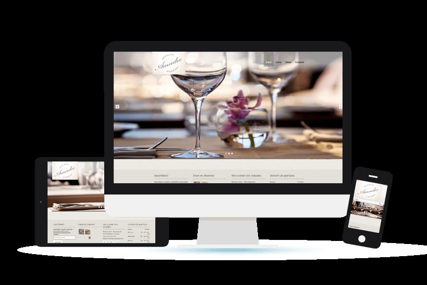 Vista de la web de Restaurante Amadeo en distintos formatos