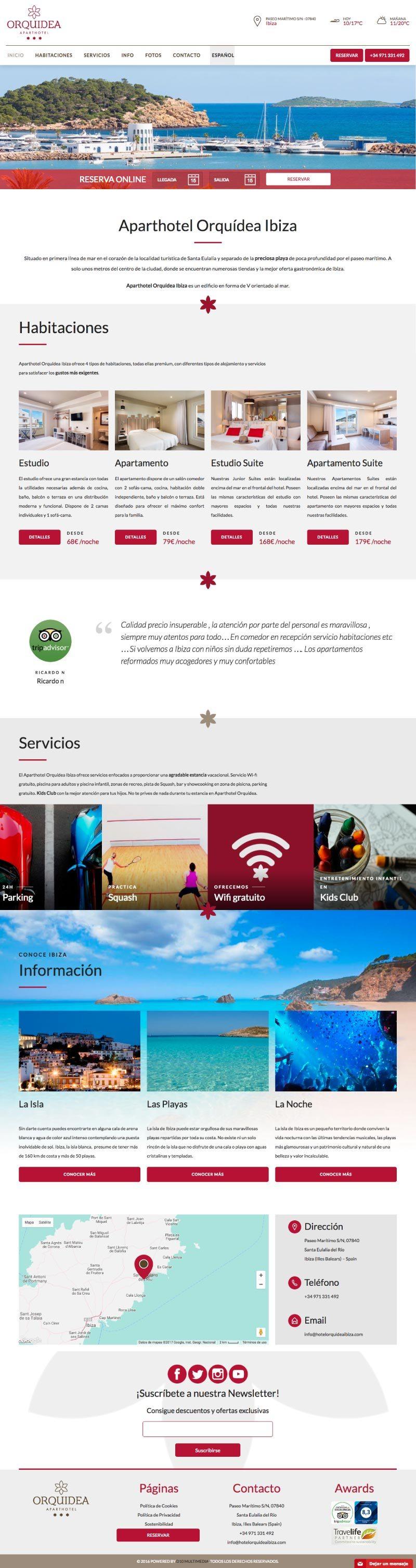 Vista completa de la web de Hotel Orquídea Ibiza