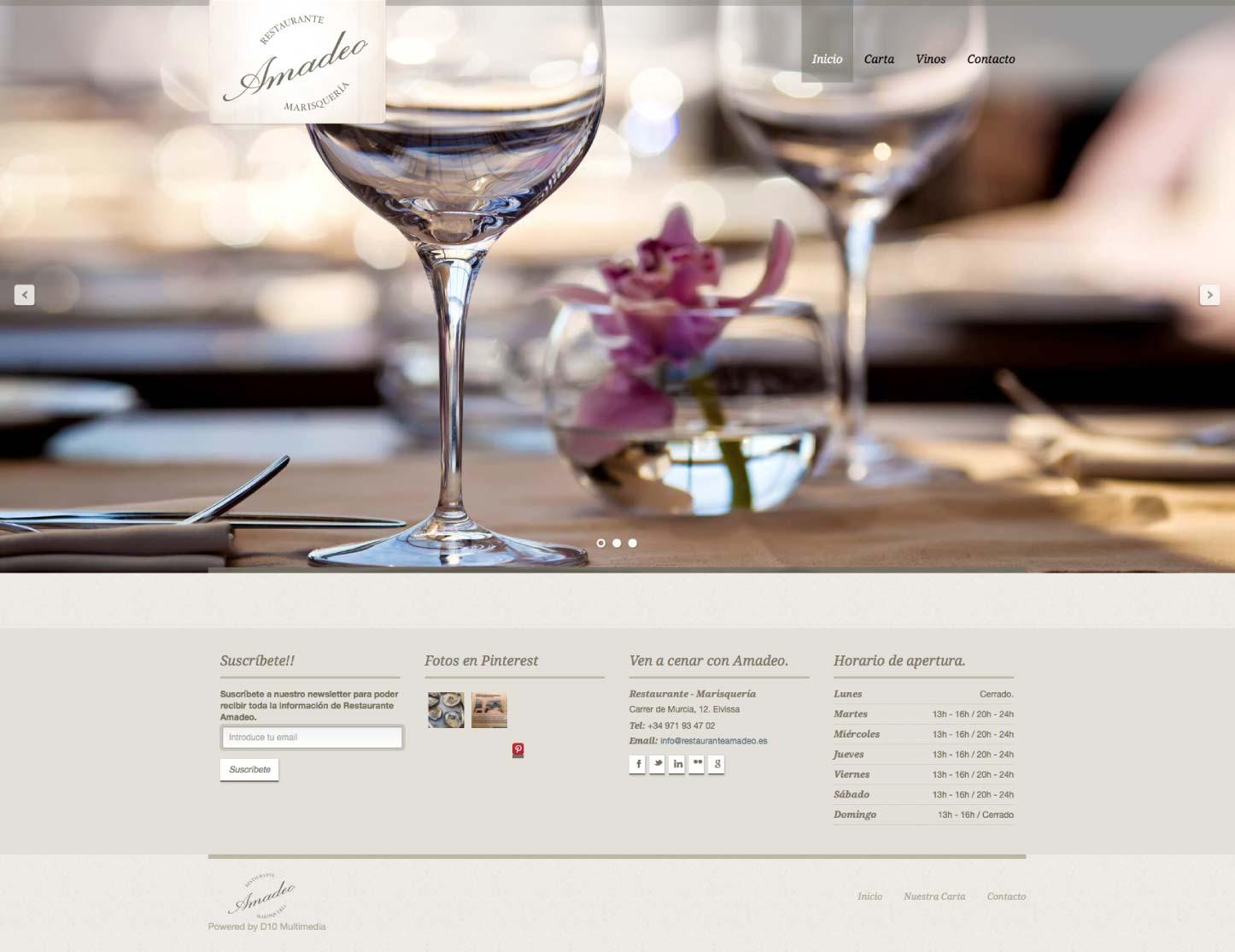 Vista completa de la web de Restaurante Amadeo