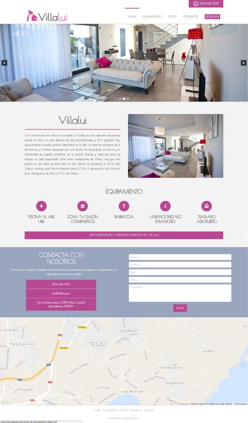 Vista completa de la web de Villalui
